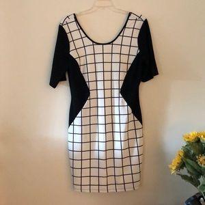 Janette Plus window pane black and white dress
